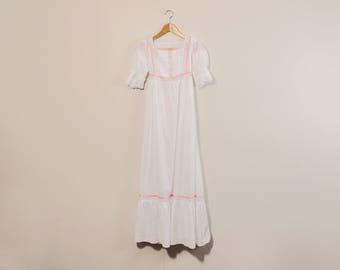 60s Cotton Dress, 1960s Prairie Dress, Vintage 60s Nightgown, Full Length Dress, Sheer White Dress, Puffy Sleeve Dress, Lacy Romantic Dress
