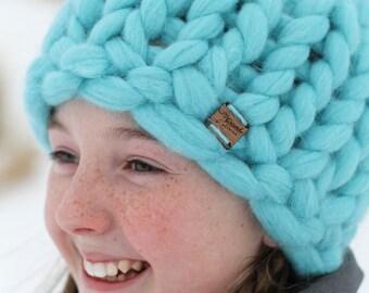 Turquoise Merino Wool Chunky Knit Beanie