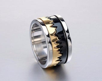 Stainless Steel 3 tone Jagged Design Ring - Unique Styling