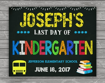 Last Day of School Sign, Last Day of School Chalkboard Sign, Last Day of Kindergarten Sign, ANY GRADE School Photo, Printable