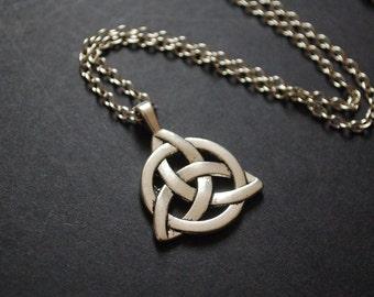 silver tone Triquetra Trinity celtic knot necklace