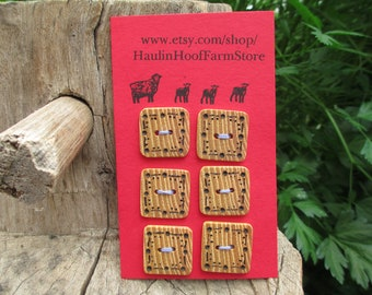 Wood buttons/wood burned buttons/black locust buttons/square buttons/sustainable buttons/natural buttons/decorative buttons/handmade buttons