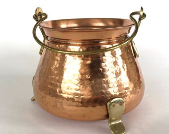 Vintage Hammered Copper and Brass Planter-Farm House-Country French Kitchen-Cottage