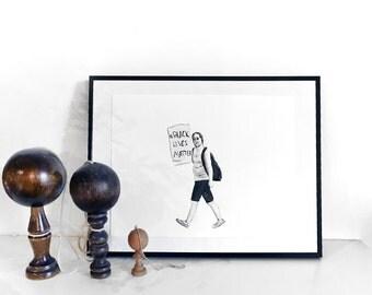 Original acrylic drawing on paper