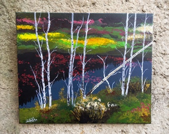 Birches lurching over the pond - Original painting