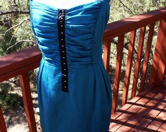 Plus Size Figure Flattering Teal Ruched Bodice Dress Body Shaping Dress Boho Hippie Style Elegant Chic Comfortable Womans Sun Dress Size 20