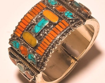 Nepal Jewellry,Gypsy Cuff,Beaded Trible Style Turquoise & Coral For Love Gift