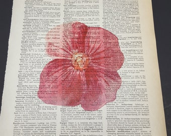 Vintage Dictionary Print - Water Color Flower