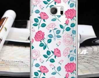 Floral case htc U11 Bolt  htc 10 evo One E9 + One X9 One ME roses case One A9 One X10 One M7 One M8 One M8s One M9  One M10 HTC 10 Lifestyle
