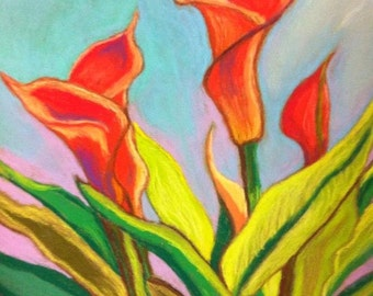 Orange Calla Lilies Pastel Print