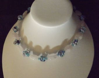 Blue Tie-dye Glass and Stone Beaded Necklace