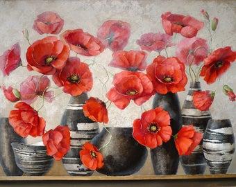 Poppies in vases 80x60 cm