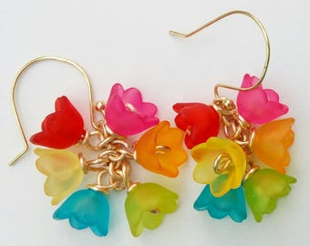 Do You Suppose She is a Wildflower? - earrings, flowers, lucite, tulips, rainbow, gold, drops, punk, red, orange, yellow, green, blue