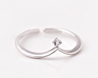 Crown Ring. Small Cz Ring. Adjustable Ring. Minimalist Ring. Dainty Sterling Silver Ring. Stacking Ring. Open Ring