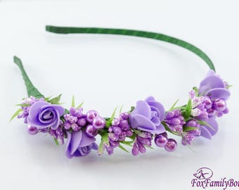 Violet headbands - Flower crown - rose crown - Floral hair wreath - Flower headpiece - Flower hair accessories- Bridal wreath - Wood crown
