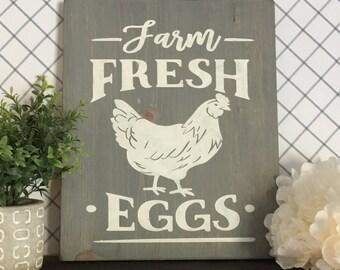 Farm Fresh Eggs | Wood Sign | Farmhouse | Rustic | Farmhouse decor | custom wood sign |