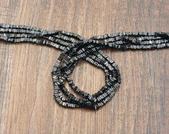 "Black Spinel 3-4mm square heishe beads 15.5"" strand or 7"" strand"