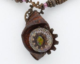 Steampunk Antique Glass Button Pendant
