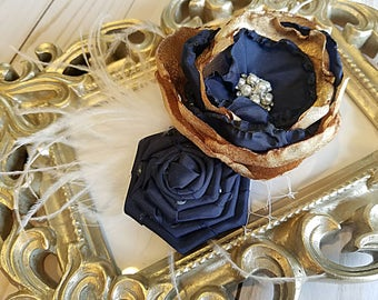 Navy and Gold Flower Girl Clip, Vintage Navy Flower Headband, Gold Flower Headband, Girls Couture Headband, Baby Vintage, Poupee Stitch