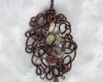 Copper wirewrapped pendant with citrine gemstone - handmade