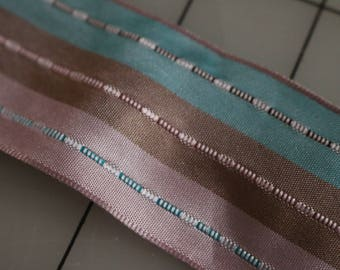 29 Vintage Aqua pink and brown striped ribbon trim 1.5 inches wide