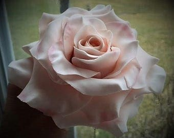 Large blush pink gumpaste rose. Hand crafted, wedding, birthday cake topper.