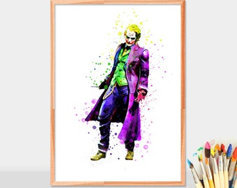 Batman Joker, Batman Villains, Riddler, Watercolor Art, Superhero Watercolor, Kids Room Decor, Boy Birthday Gifts, Office Decor