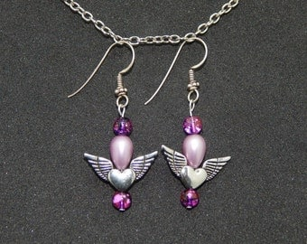 Winged Heart Purple Bead Dangle Earrings