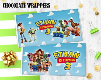 Toy story Chocolate wrappers Hershey bar wrappers Toy story birthday decoration