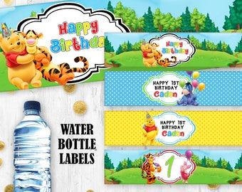 Winnie the Pooh Water bottle labels Printable digital birthday labels