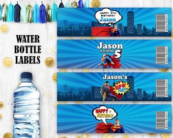 Superman Water bottle labels Super man birthday party decoration