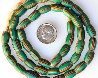 20 Inch Strand of Green Venetian Aspeo Beads - Vintage African Trade Beads - F1963