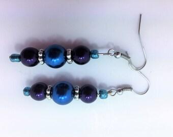 Dark teal and deep purple earrings #21