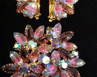 Juliana Brooch and Earrings , Purples/Pinks /Aurora Borealis/molded glass