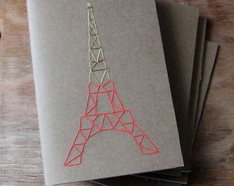 Embroidered notebook, EIFFEL TOWER pattern, different colors