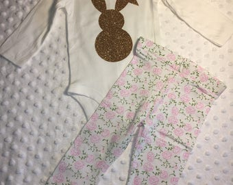 Baby Girl Easter Outfit, Easter Bunny Outfit, Easter Outfit, Easter Outfit with Leggings, Easter Outfit Set
