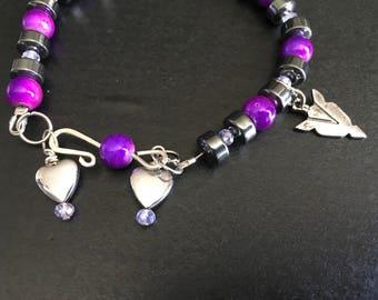 Beautiful hematite and purple bracelet