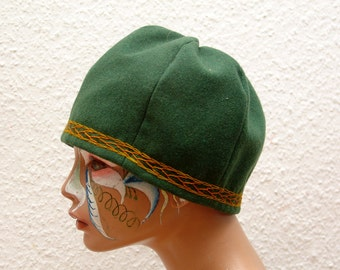 CAP, Viking, RUS, embroidered, plant dyed, herringbone, Gr. 58, wool, linen