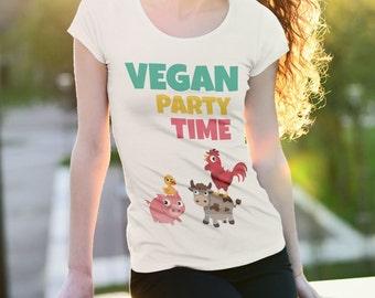 VEGAN PARTY TIME | Vegan shirt, Vegan Clothing, Vegan Gifts, vegan top, funny, vegan t shirt, vegan apparel, veganism, vegan tshirt