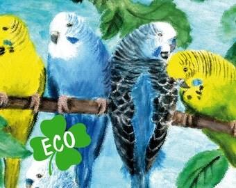 ECO XXL Bordüre: Wellensittiche - Pastellkreide,  Bordüre für Allergiker, Wandbordüre, Vliesbordüre, Wandborte, Sittiche, Vögel