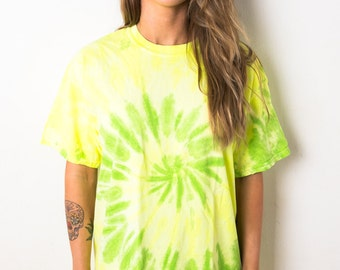 Lime Swirl Spiral Tie Dye T-Shirt Ladies