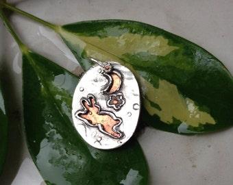 Sakura Moon Rabbit Fine Silver and Copper Pendant