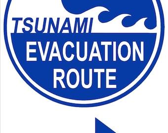 TSUNAMI EVACUATION ROUTE 12x18 Thick Aluminum Sign, Right Arrow