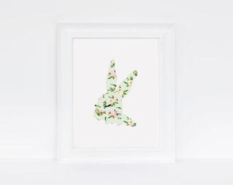 Easter, Customizable Minimalist, Simple, Floral, Bunny, Nursery Print, Tween girl, Teen girl Poster, Digital Download, Printable Art, Decor