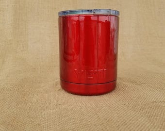 Beautiful Customized Glitter Dusted 10 oz. Yeti Low Ball Tumbler Powder Coated Wild Red lid included.