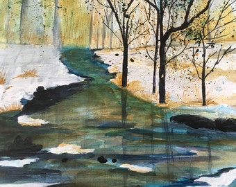 Flowing creak in winter