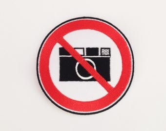 No photo patch No camera iron on patch