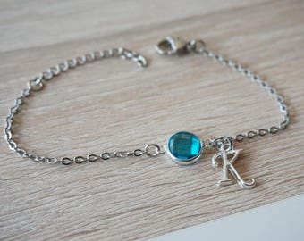 Bracelet blue faceted glass with initial pendant design trend