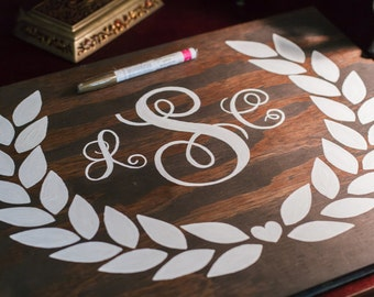 Personalized Guest Book. Monogram Guest Book.