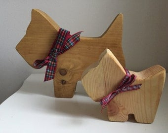 Westie wooden dog and puppy